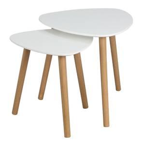 Tear Drop Nest of 2 Tables - White & Oak