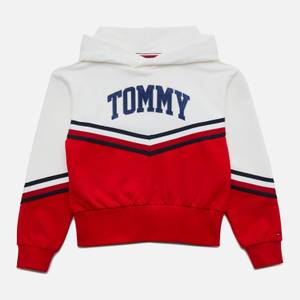 Tommy Hilfiger Girls' Varsity Chevron Hoodie - White/Deep Crimson