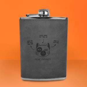 Feline Thoughts Engraved Hip Flask - Grey