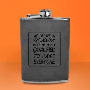 Degree In Psychology Engraved Hip Flask - Grey