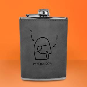 Psychology Illustration Engraved Hip Flask - Grey