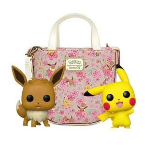 Loungefly Pokemon Crossbody Bag & Pikachu and Eevee Funko Pop! Vinyl Bundle