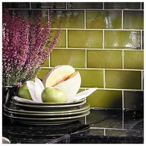 V&A Puddle Glaze Olive Sample Wall Tile - 15.2x7.6cm
