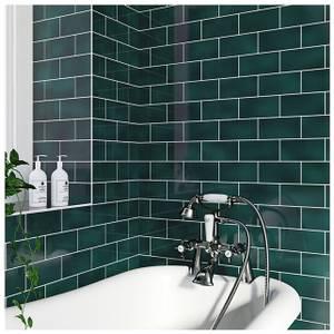V&A Puddle Glaze Peacock Sample Wall Tile - 15.2x7.6cm