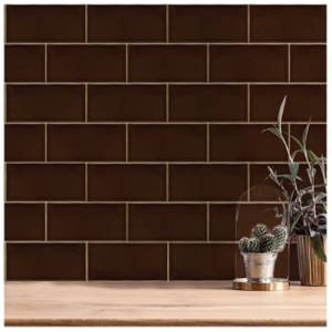 V&A Puddle Glaze Teapot Brown Sample Wall Tile - 15.2x7.6cm