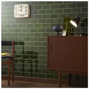 V&A Puddle Glaze Racing Green Sample Wall Tile - 15.2x7.6cm