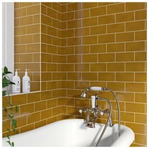V&A Puddle Glaze Honey Sample Wall Tile - 15.2x7.6cm