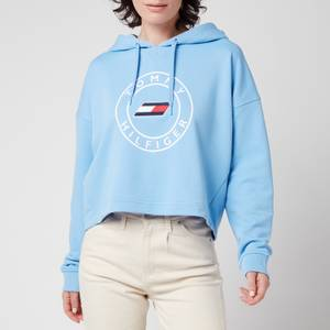 Tommy Sport Women's Relaxed Round Graphic Hoodie - Wonder Blue