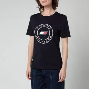 Tommy Sport Women's Slim Round Graphic Crew Neck T-Shirt - Desert Sky