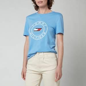 Tommy Sport Women's Slim Round Graphic Crew Neck T-Shirt - Wonder Blue