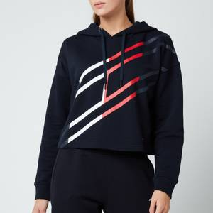 Tommy Sport Women's Relaxed Flag Graphic Hoodie - Desert Sky
