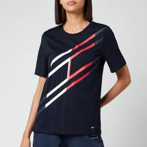 Tommy Sport Women's Regular Large Flag Crew Neck T-Shirt - Desert Sky