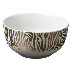 Zebra Print Porcelain Rice Bowl with Gold Rim