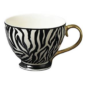 Zebra Print Porcelain Mug with Gold Handle
