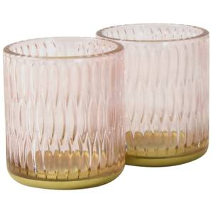 Oval Glass Candle Holders - Set of 2