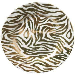 Zebra Print Porcelain Side Plate - Gold