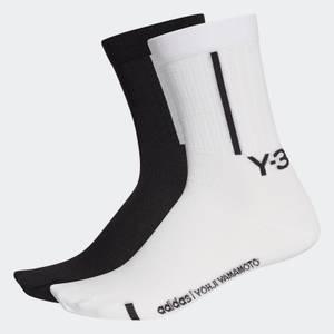 Y-3 Men's 2-Pack Crew Socks - Black/Core White
