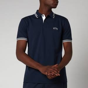 BOSS Athleisure Men's Paul Stretch Pique Curved Logo Polo Shirt - Medium Blue