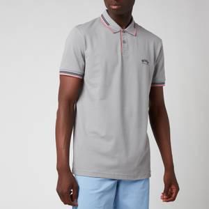 BOSS Athleisure Men's Paul Stretch Pique Curved Logo Polo Shirt - Medium Grey