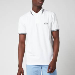 BOSS Athleisure Men's Paul Stretch Pique Curved Logo Polo Shirt - Open White