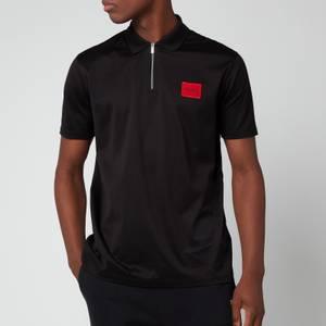 HUGO Men's Half Zip Polo Shirt - Black