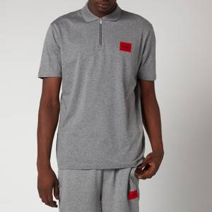 HUGO Men's Half Zip Polo Shirt - Meduim Grey