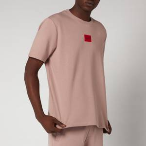 HUGO Men's Relaxed Fit Red Logo T-Shirt - Light Pastel Brown