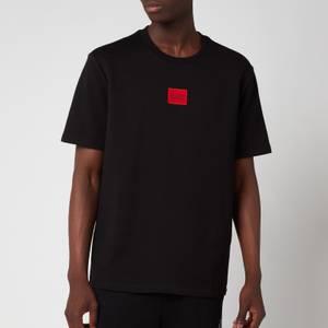 HUGO Men's Relaxed Fit Red Logo T-Shirt - Black