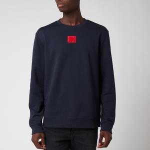 HUGO Men's Cotton Terry Red Logo Sweatshirt - Dark Blue