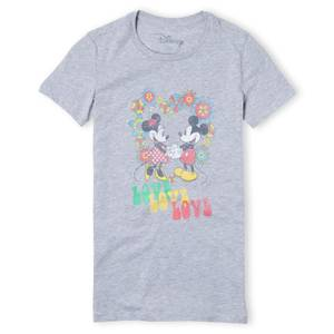 Disney Mickey Mouse Hippie Love Women's T-Shirt - Grey