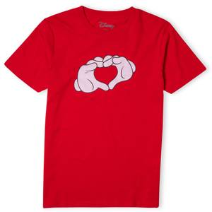 Disney Mickey Heart Hands Men's T-Shirt - Red