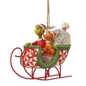 The Grinch By Jim Shore Grinch & Max In Sleigh Hanging Ornament