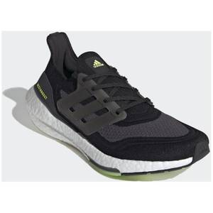 adidas Ultra Boost 21 Running Shoes - Core Black/Silver Met./Solar Yellow