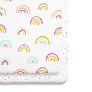 Snüz Bedside Crib 2 Pack Fitted Sheets - Rainbow