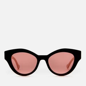 Gucci Women's Acetate Cat Eye Sunglasses with Contrast Arms - Black/White/Orange