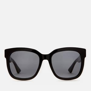 Gucci Women's Square Acetate Sunglasses - Black/Black/Grey