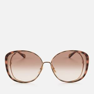 Chloé Women's Oversized Square Cat Eye Sunglases - Gold/Brown