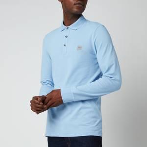 BOSS Casual Men's Long Sleeve Washed Pique Polo Shirt - Open Blue