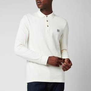 BOSS Casual Men's Long Sleeve Slim Fit Pique Polo Shirt - Light Beige