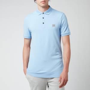 BOSS Casual Men's Washed Pique Polo Shirt - Open Blue