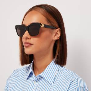 Balenciaga Women's Bb Cat Eye Acetate Sunglasses - Black/Gold