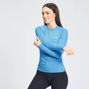 MP Women's Performance Long Sleeve Training T-Shirt - Bright Blue Marl with White Fleck