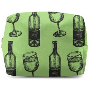 White Wine And Bottle Makeup Bag