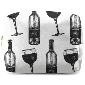 Red Wine And Bottle Makeup Bag
