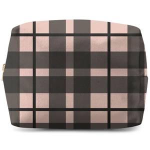 Tartan Black And Pink Makeup Bag
