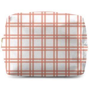 Peach Tartan Makeup Bag