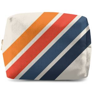 Blue Orange Retro Stripes Wash Bag