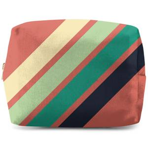 Green Retro Stripe Wash Bag