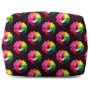 Fluro Flower Pattern Dark Wash Bag