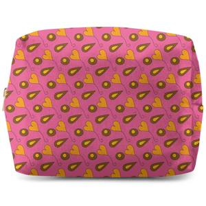 Retro Hearts And Leaves Wash Bag